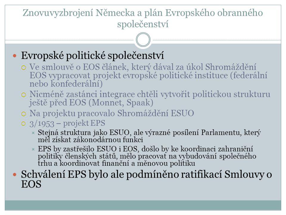 Znovuvyzbrojení Německa a plán Evropského obranného společenství  Evropské politické společenství  Ve smlouvě o EOS článek, který dával za úkol Shromáždění EOS vypracovat projekt evropské politické instituce (federální nebo konfederální)  Nicméně zastánci integrace chtěli vytvořit politickou strukturu ještě před EOS (Monnet, Spaak)  Na projektu pracovalo Shromáždění ESUO  3/1953 – projekt EPS  Stejná struktura jako ESUO, ale výrazné posílení Parlamentu, který měl získat zákonodárnou funkci  EPS by zastřešilo ESUO i EOS, došlo by ke koordinaci zahraniční politiky členských států, mělo pracovat na vybudování společného trhu a koordinovat finanční a měnovou politiku  Schválení EPS bylo ale podmíněno ratifikací Smlouvy o EOS