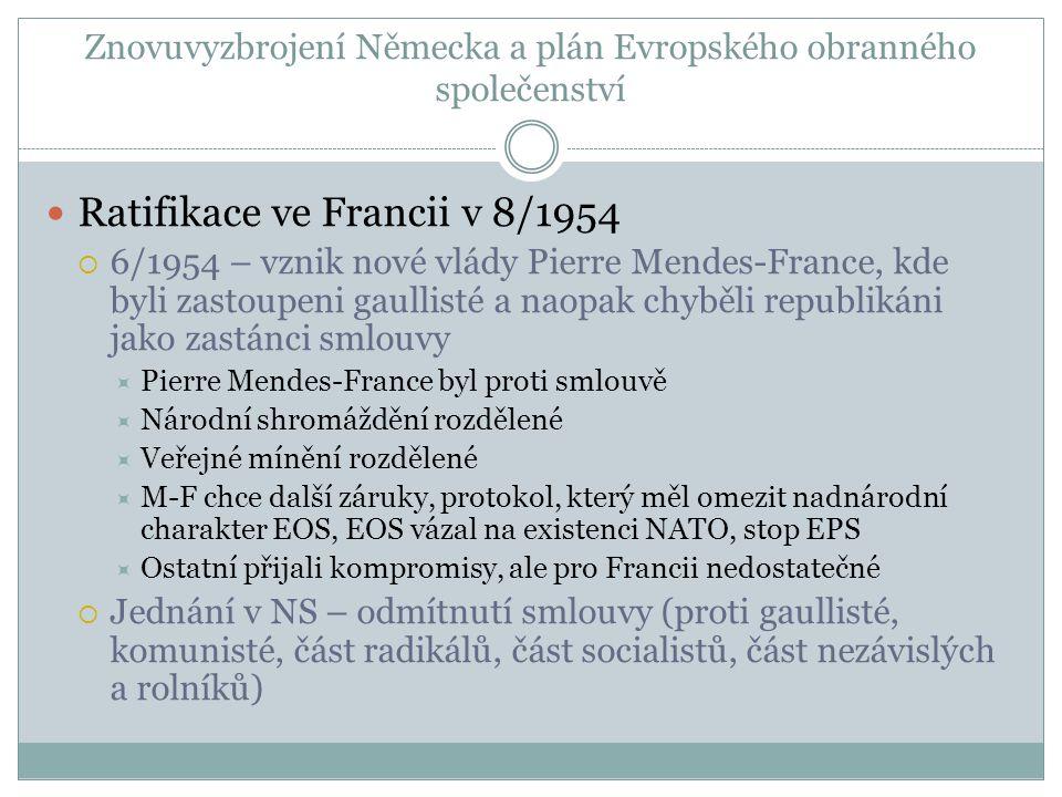 Znovuvyzbrojení Německa a plán Evropského obranného společenství  Ratifikace ve Francii v 8/1954  6/1954 – vznik nové vlády Pierre Mendes-France, kde byli zastoupeni gaullisté a naopak chyběli republikáni jako zastánci smlouvy  Pierre Mendes-France byl proti smlouvě  Národní shromáždění rozdělené  Veřejné mínění rozdělené  M-F chce další záruky, protokol, který měl omezit nadnárodní charakter EOS, EOS vázal na existenci NATO, stop EPS  Ostatní přijali kompromisy, ale pro Francii nedostatečné  Jednání v NS – odmítnutí smlouvy (proti gaullisté, komunisté, část radikálů, část socialistů, část nezávislých a rolníků)