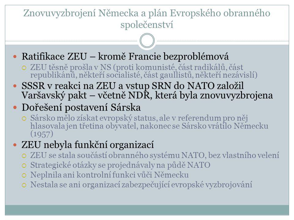 Znovuvyzbrojení Německa a plán Evropského obranného společenství  Ratifikace ZEU – kromě Francie bezproblémová  ZEU těsně prošla v NS (proti komunisté, část radikálů, část republikánů, někteří socialisté, část gaullistů, někteří nezávislí)  SSSR v reakci na ZEU a vstup SRN do NATO založil Varšavský pakt – včetně NDR, která byla znovuvyzbrojena  Dořešení postavení Sárska  Sársko mělo získat evropský status, ale v referendum pro něj hlasovala jen třetina obyvatel, nakonec se Sársko vrátilo Německu (1957)  ZEU nebyla funkční organizací  ZEU se stala součástí obranného systému NATO, bez vlastního velení  Strategické otázky se projednávaly na půdě NATO  Neplnila ani kontrolní funkci vůči Německu  Nestala se ani organizací zabezpečující evropské vyzbrojování