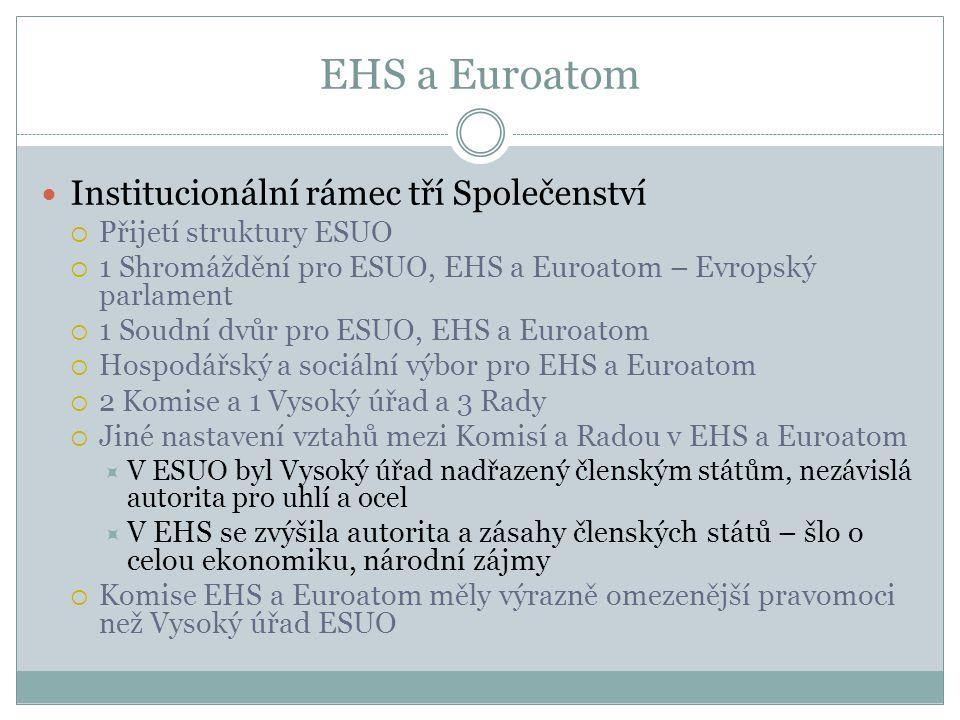 EHS a Euroatom  Institucionální rámec tří Společenství  Přijetí struktury ESUO  1 Shromáždění pro ESUO, EHS a Euroatom – Evropský parlament  1 Soudní dvůr pro ESUO, EHS a Euroatom  Hospodářský a sociální výbor pro EHS a Euroatom  2 Komise a 1 Vysoký úřad a 3 Rady  Jiné nastavení vztahů mezi Komisí a Radou v EHS a Euroatom  V ESUO byl Vysoký úřad nadřazený členským státům, nezávislá autorita pro uhlí a ocel  V EHS se zvýšila autorita a zásahy členských států – šlo o celou ekonomiku, národní zájmy  Komise EHS a Euroatom měly výrazně omezenější pravomoci než Vysoký úřad ESUO