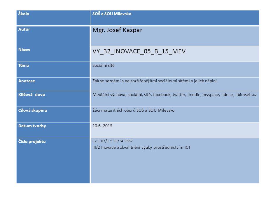 ŠkolaSOŠ a SOU Milevsko Autor Mgr. Josef Kašpar Název VY_32_INOVACE_05_B_15_MEV TémaSociální sítě AnotaceŽák se seznámí s nejrozšířenějšími sociálními