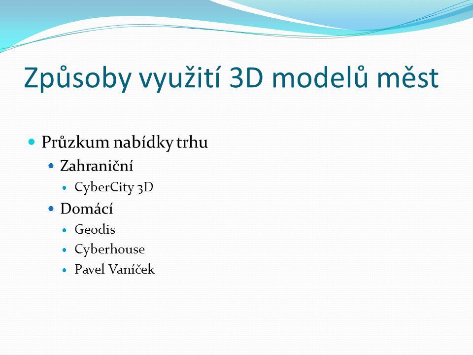 Způsoby využití 3D modelů měst  Průzkum nabídky trhu  Zahraniční  CyberCity 3D  Domácí  Geodis  Cyberhouse  Pavel Vaníček
