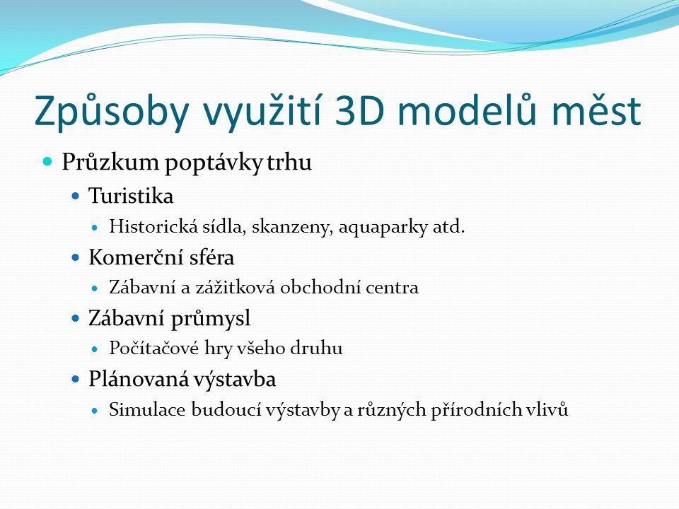 Způsoby využití 3D modelů měst  Průzkum poptávky trhu  Turistika  Historická sídla, skanzeny, aquaparky atd.  Komerční sféra  Zábavní a zážitková