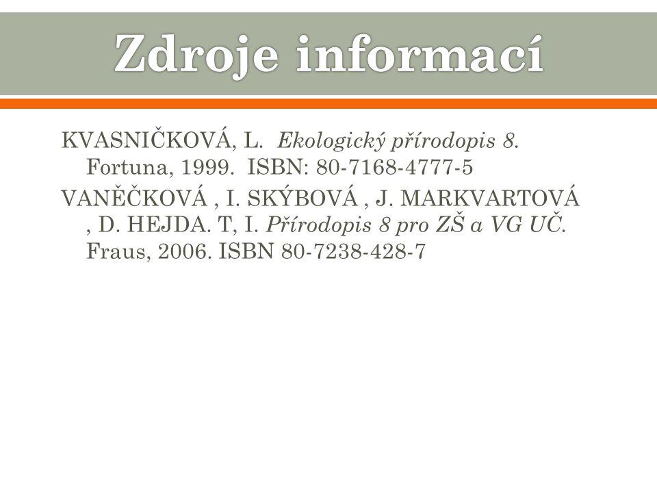 KVASNIČKOVÁ, L.Ekologický přírodopis 8. Fortuna, 1999.