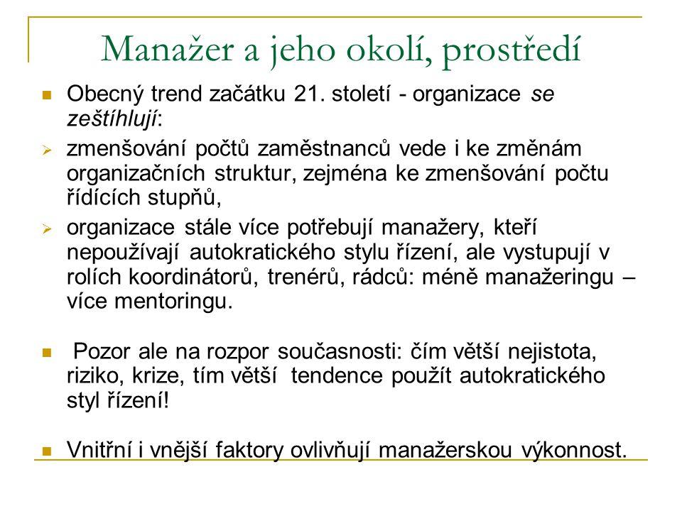 Manažer a jeho okolí, prostředí  Obecný trend začátku 21.