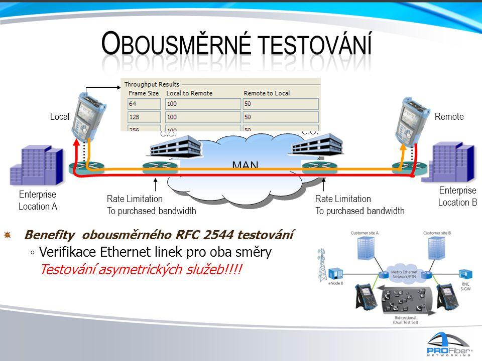 Benefity obousměrného RFC 2544 testování ◦ Verifikace Ethernet linek pro oba směry Testování asymetrických služeb!!!! Enterprise Location A C.O. Enter