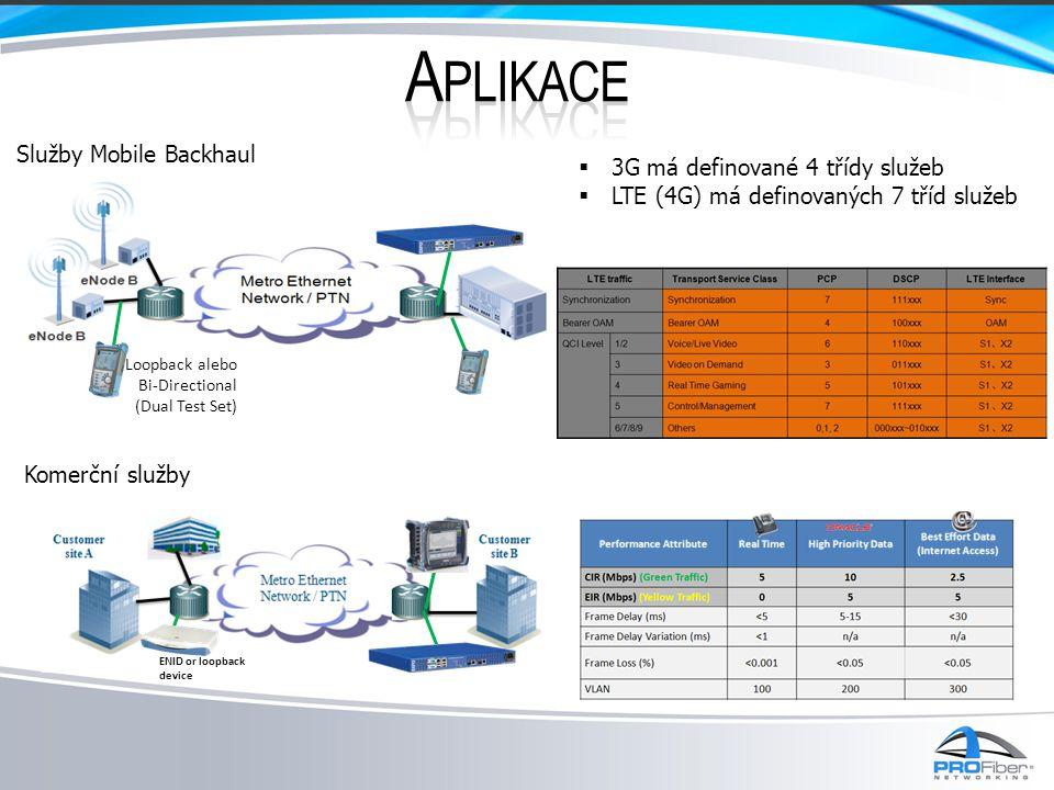 Loopback alebo Bi-Directional (Dual Test Set) Služby Mobile Backhaul ENID or loopback device Komerční služby  3G má definované 4 třídy služeb  LTE (4G) má definovaných 7 tříd služeb
