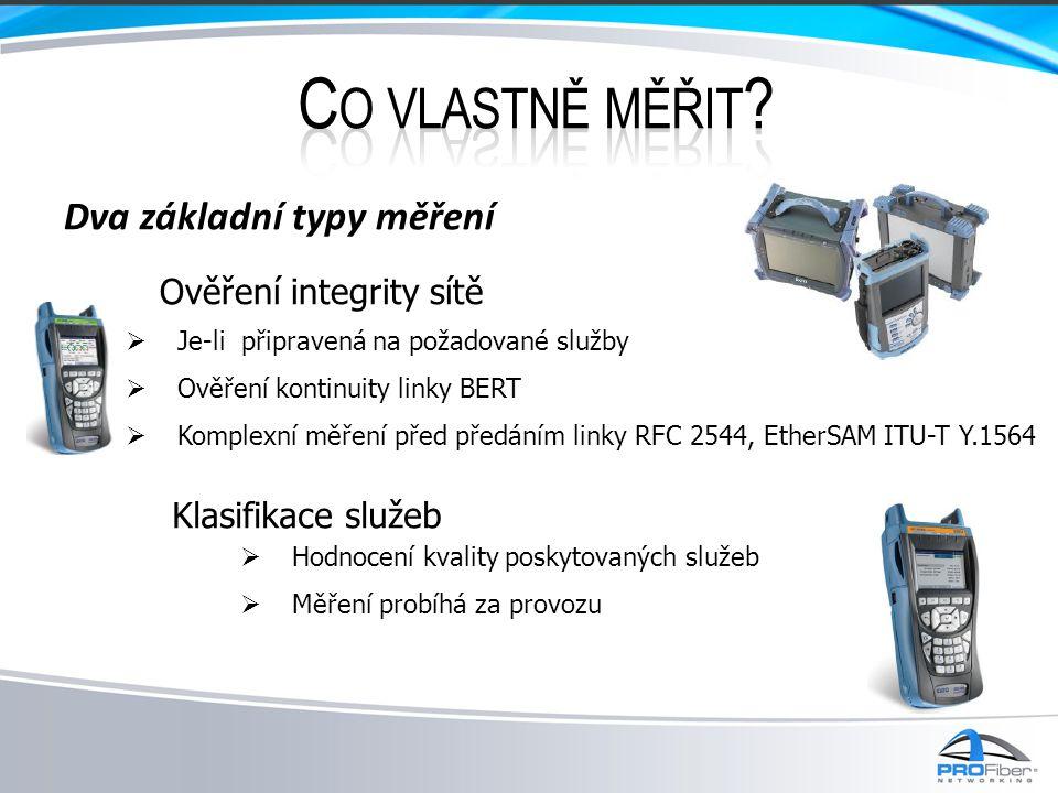 Dva základní typy měření  Je-li připravená na požadované služby  Ověření kontinuity linky BERT  Komplexní měření před předáním linky RFC 2544, EtherSAM ITU-T Y.1564 Ověření integrity sítě  Hodnocení kvality poskytovaných služeb  Měření probíhá za provozu Klasifikace služeb