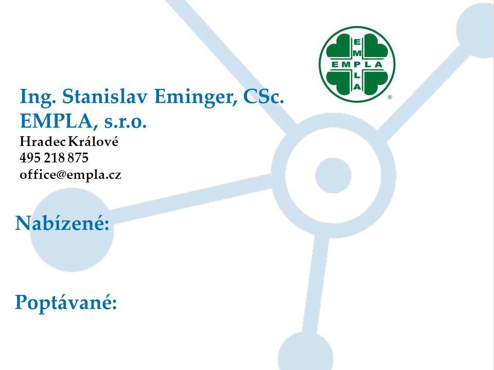 Ing. Stanislav Eminger, CSc. EMPLA, s.r.o. Hradec Králové 495 218 875 office@empla.cz Nabízené: Poptávané: