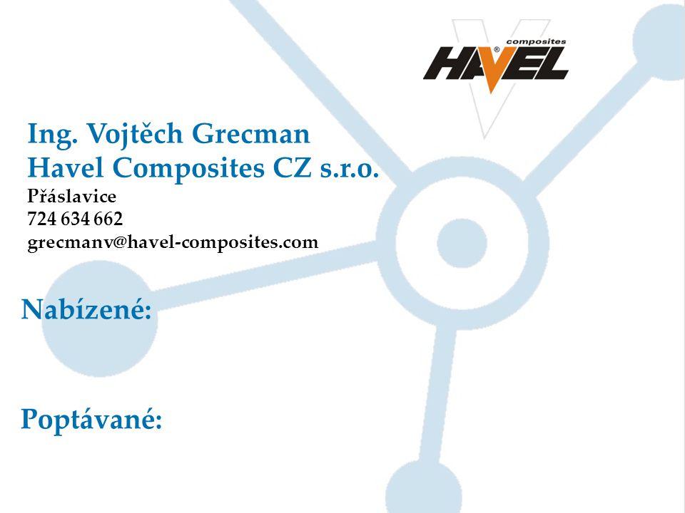 Ing. Vojtěch Grecman Havel Composites CZ s.r.o. Přáslavice 724 634 662 grecmanv@havel-composites.com Nabízené: Poptávané: