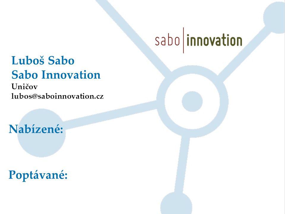 Luboš Sabo Sabo Innovation Uničov lubos@saboinnovation.cz Nabízené: Poptávané: