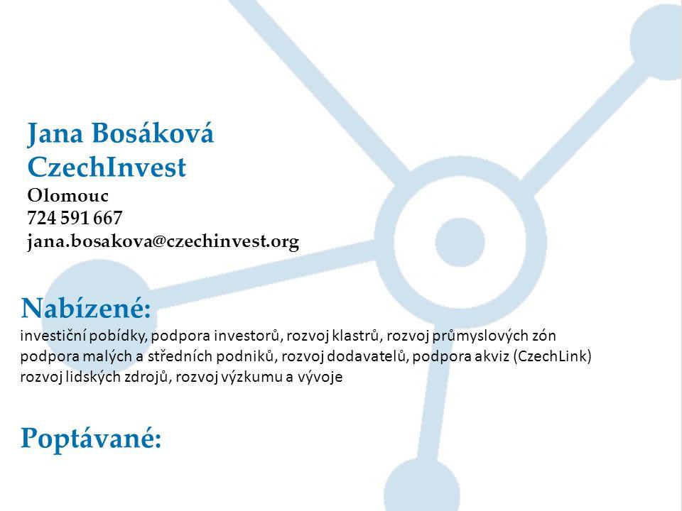 Jana Bosáková CzechInvest Olomouc 724 591 667 jana.bosakova@czechinvest.org Nabízené: investiční pobídky, podpora investorů, rozvoj klastrů, rozvoj pr
