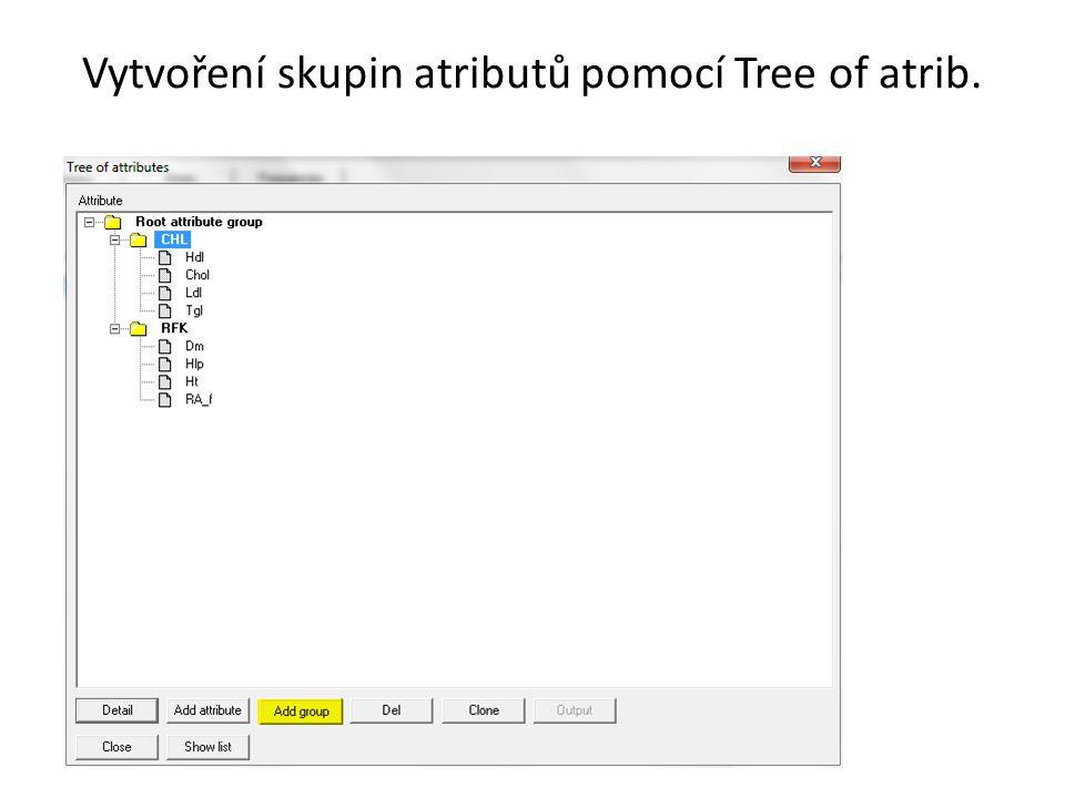Vytvoření skupin atributů pomocí Tree of atrib.
