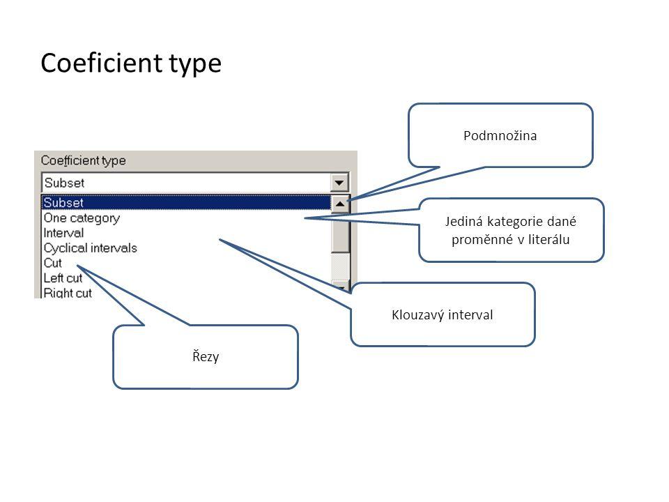 Coeficient type Podmnožina Klouzavý interval Jediná kategorie dané proměnné v literálu Řezy