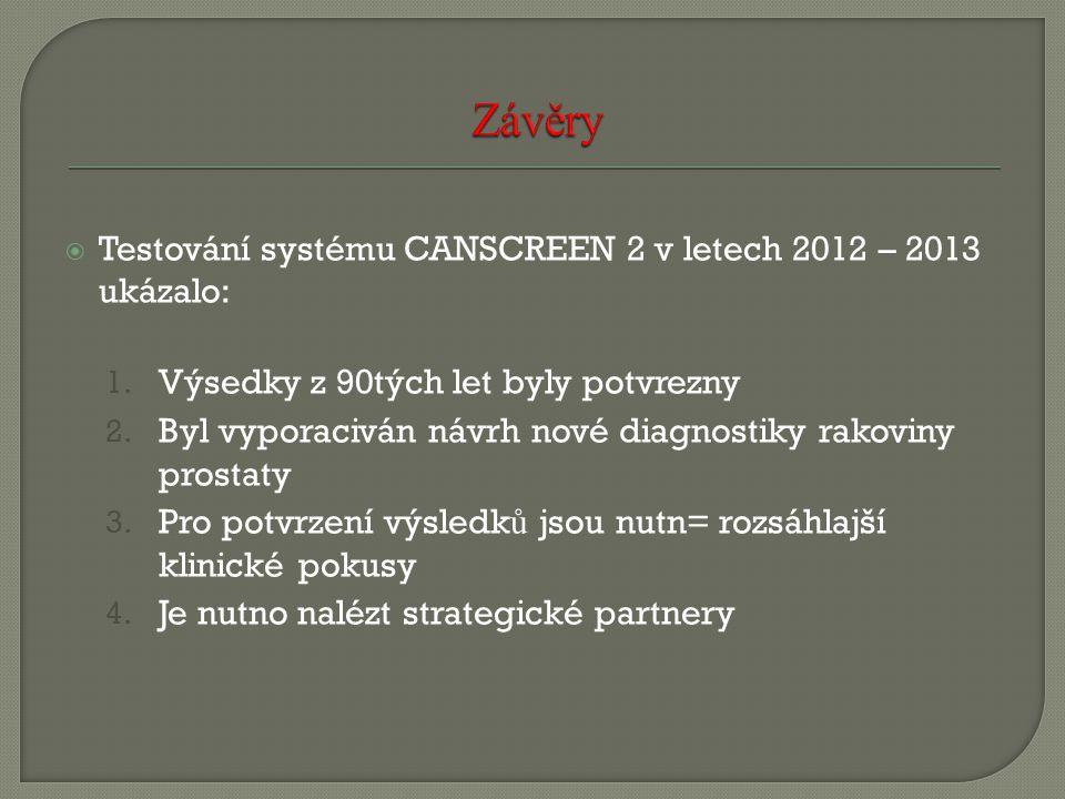  Testování systému CANSCREEN 2 v letech 2012 – 2013 ukázalo: 1. Výsedky z 90tých let byly potvrezny 2. Byl vyporaciván návrh nové diagnostiky rakovin