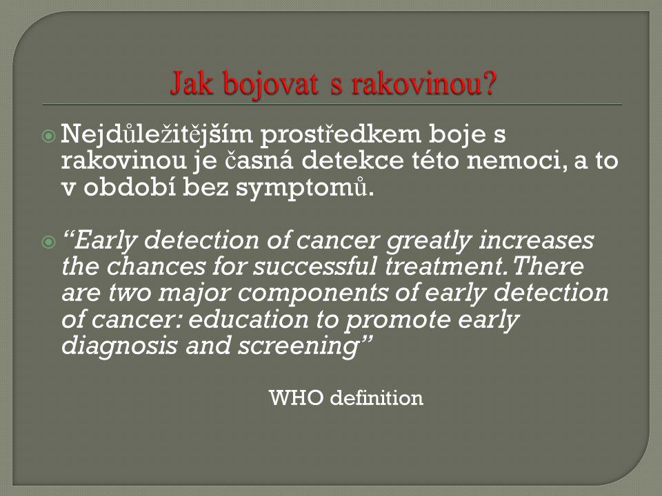 """ Nejd ů le ž it ě jším prost ř edkem boje s rakovinou je č asná detekce této nemoci, a to v období bez symptom ů.  """"Early detection of cancer greatl"""