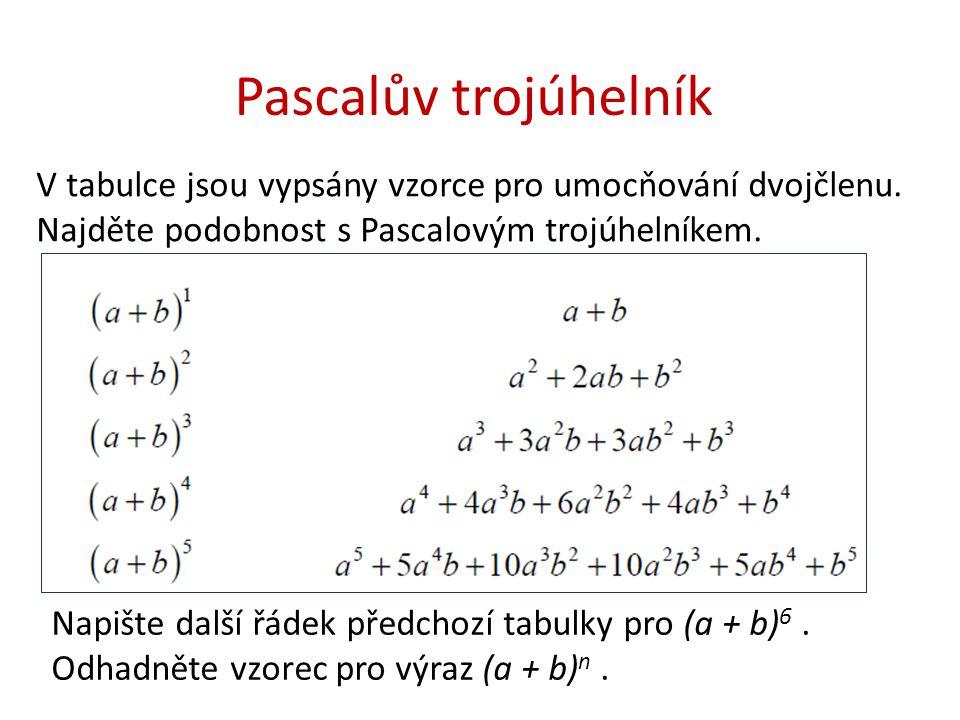 Pascalův trojúhelník V tabulce jsou vypsány vzorce pro umocňování dvojčlenu.