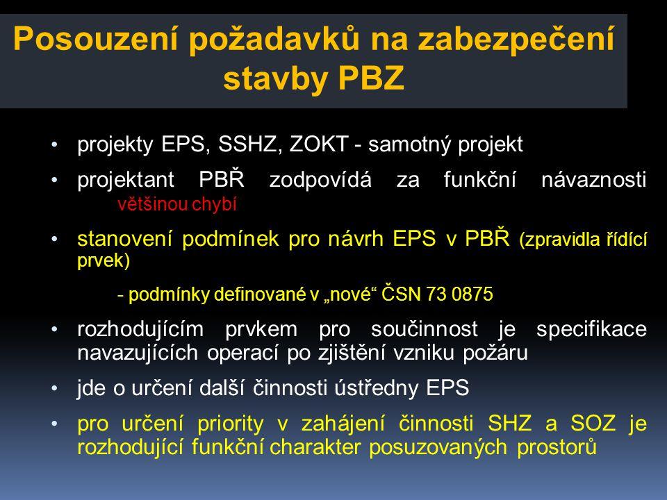 Posouzení požadavků na zabezpečení stavby PBZ • projekty EPS, SSHZ, ZOKT - samotný projekt • projektant PBŘ zodpovídá za funkční návaznosti většinou c