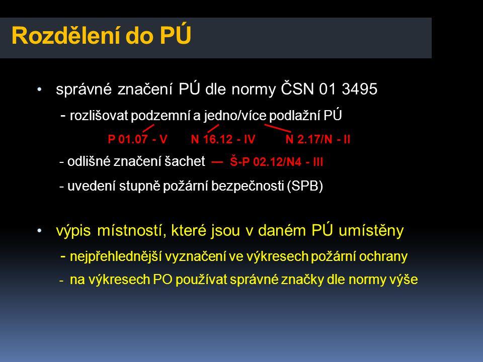 Rozdělení do PÚ • správné značení PÚ dle normy ČSN 01 3495 - rozlišovat podzemní a jedno/více podlažní PÚ P 01.07 - V N 16.12 - IV N 2.17/N - II - odl