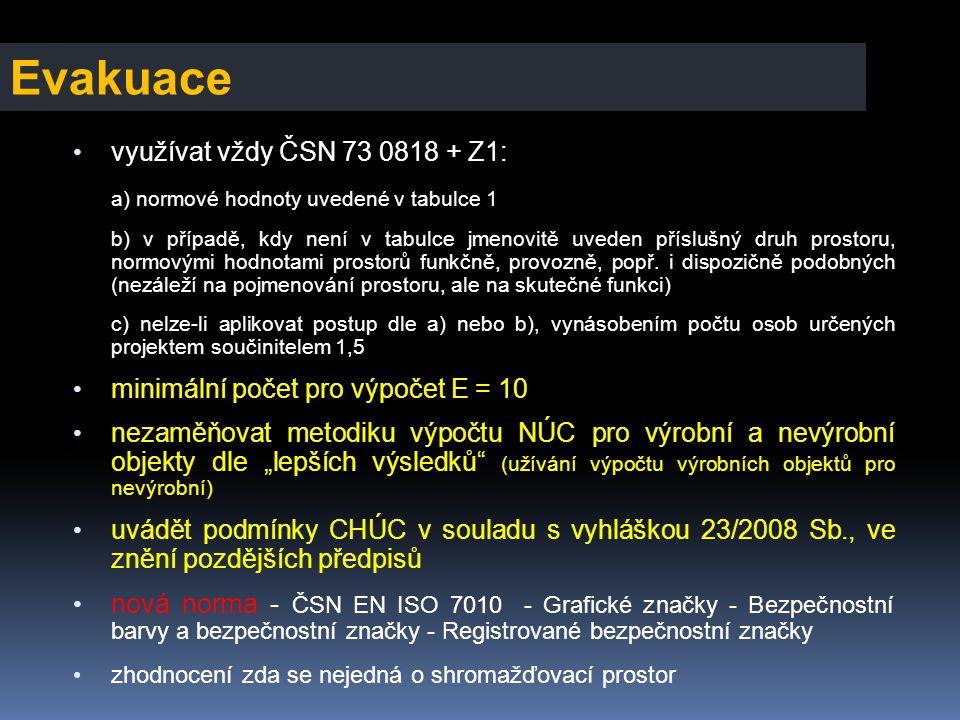 Evakuace • využívat vždy ČSN 73 0818 + Z1: a) normové hodnoty uvedené v tabulce 1 b) v případě, kdy není v tabulce jmenovitě uveden příslušný druh pro