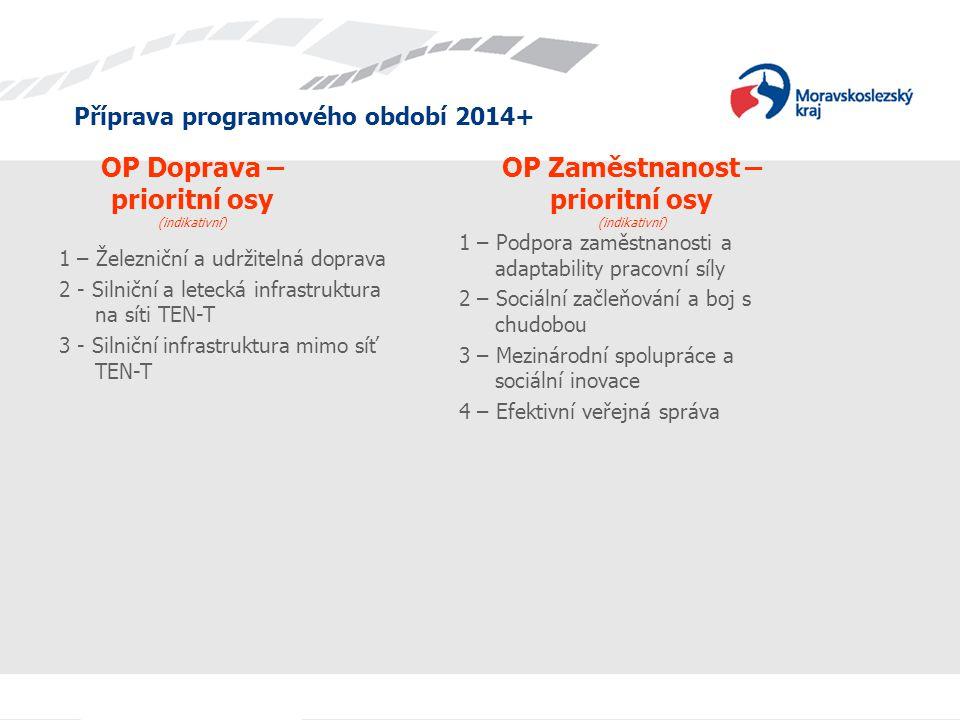 Příprava programového období 2014+ OP Doprava – prioritní osy (indikativní) 1 – Podpora zaměstnanosti a adaptability pracovní síly 2 – Sociální začleň