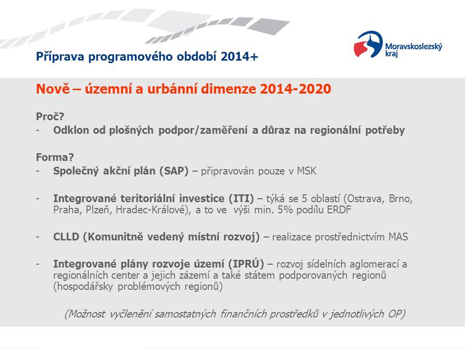 Příprava programového období 2014+ Nově – územní a urbánní dimenze 2014-2020 Proč? -Odklon od plošných podpor/zaměření a důraz na regionální potřeby F