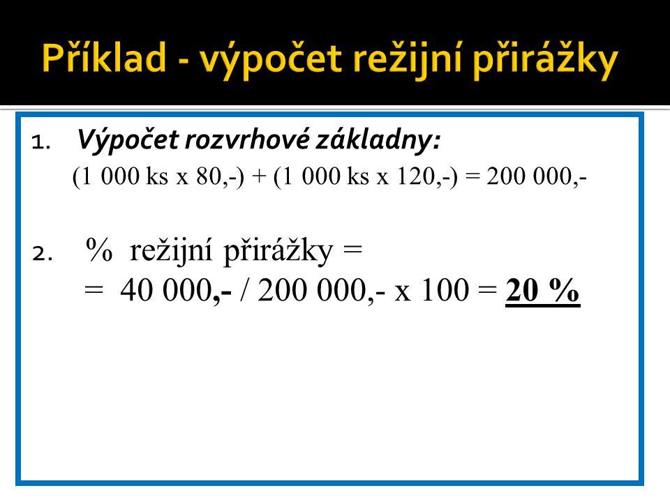 1. Výpočet rozvrhové základny: (1 000 ks x 80,-) + (1 000 ks x 120,-) = 200 000,- 2. % režijní přirážky = = 40 000,- / 200 000,- x 100 = 20 %