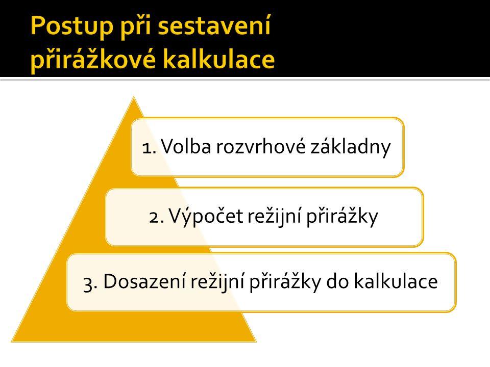 1. Volba rozvrhové základny2. Výpočet režijní přirážky3. Dosazení režijní přirážky do kalkulace