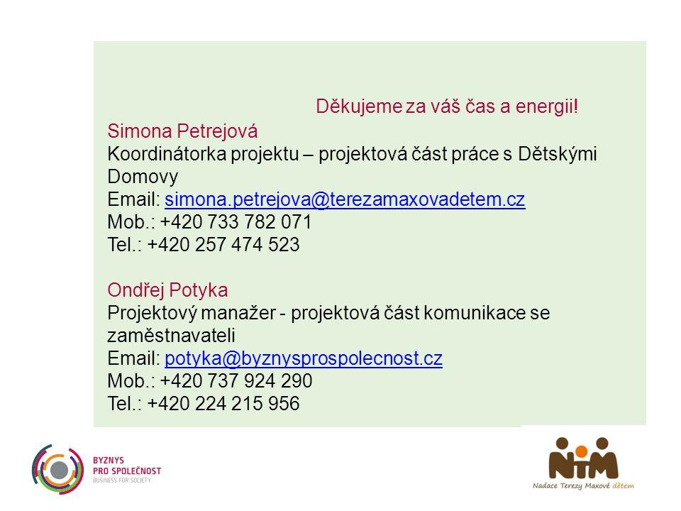 Děkujeme za váš čas a energii! Simona Petrejová Koordinátorka projektu – projektová část práce s Dětskými Domovy Email: simona.petrejova@terezamaxovad
