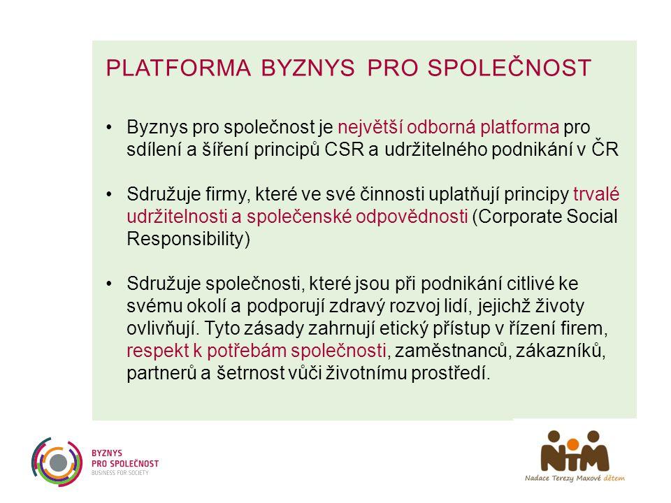 PLATFORMA BYZNYS PRO SPOLEČNOST •Byznys pro společnost je největší odborná platforma pro sdílení a šíření principů CSR a udržitelného podnikání v ČR •