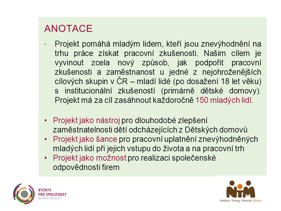 ANOTACE • Projekt pomáhá mladým lidem, kteří jsou znevýhodnění na trhu práce získat pracovní zkušenosti. Našim cílem je vyvinout zcela nový způsob, ja