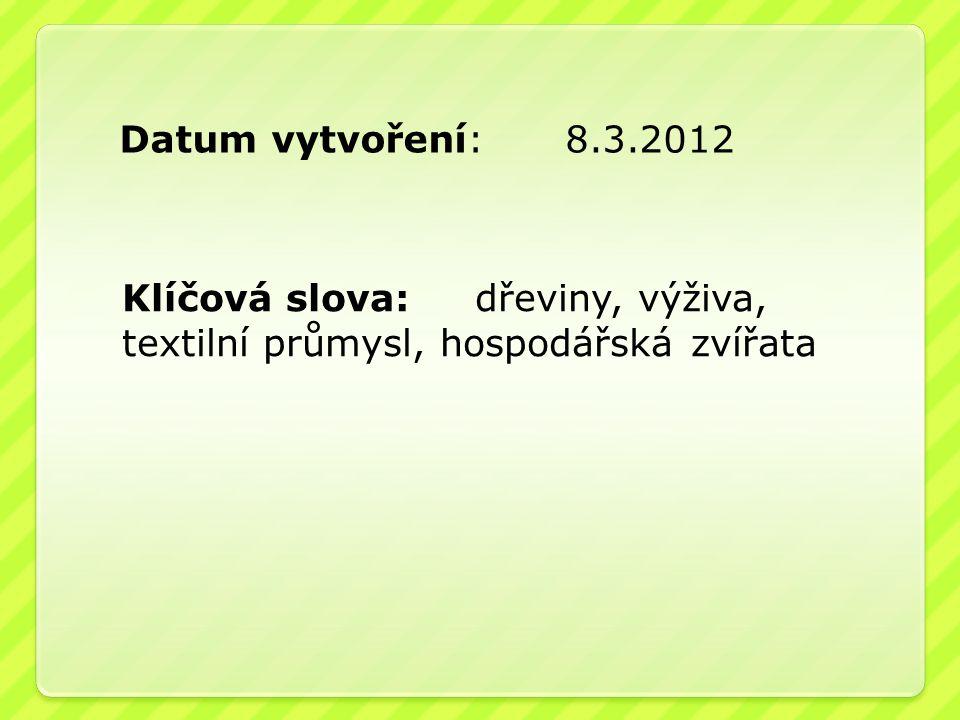 Datum vytvoření: 8.3.2012 Klíčová slova: dřeviny, výživa, textilní průmysl, hospodářská zvířata