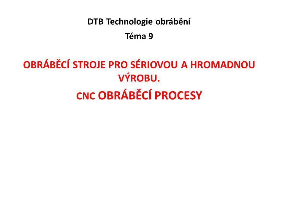 DTB Technologie obrábění Téma 9 OBRÁBĚCÍ STROJE PRO SÉRIOVOU A HROMADNOU VÝROBU. CNC OBRÁBĚCÍ PROCESY
