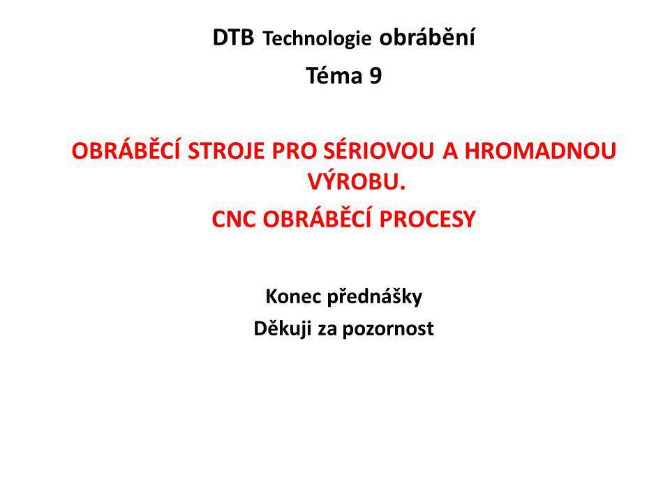 DTB Technologie obrábění Téma 9 OBRÁBĚCÍ STROJE PRO SÉRIOVOU A HROMADNOU VÝROBU. CNC OBRÁBĚCÍ PROCESY Konec přednášky Děkuji za pozornost