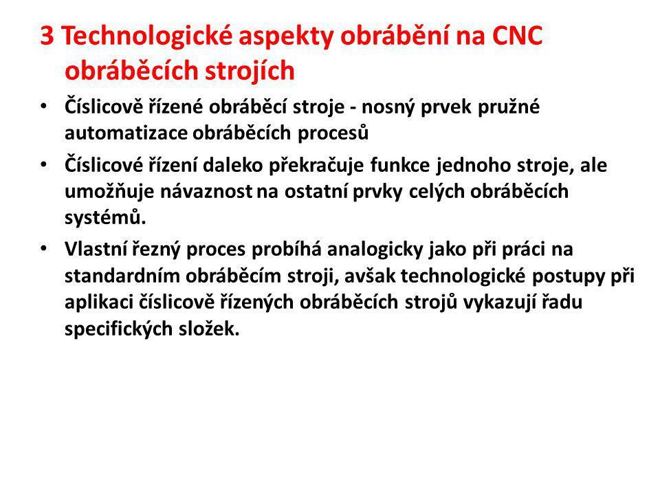 3 Technologické aspekty obrábění na CNC obráběcích strojích • Číslicově řízené obráběcí stroje - nosný prvek pružné automatizace obráběcích procesů •