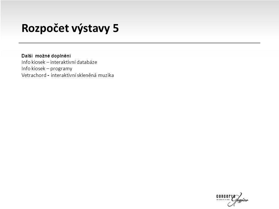 Rozpočet výstavy 5 Další možné doplnění Info kiosek – interaktivní databáze Info kiosek – programy Vetrachord - interaktivní skleněná muzika