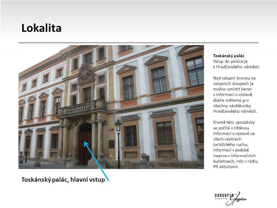 Lokalita Toskánský palác Vstup do paláce je z Hradčanského náměstí. Nad vstupní branou na vstupních sloupech je možno umístit baner s informací o výst