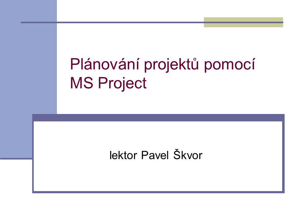 Cíle kurzu  Hlavní cíl  Osvojit si základní znalost problematiky plánování projektů v programu MS Project  Dílčí cíle  Získat základní představu o problematice projektového plánování a řízení  Seznámit se s aplikací MS Project jako s nástrojem pro plánování projektů  Na praktických cvičeních si osvojit probíraná témata