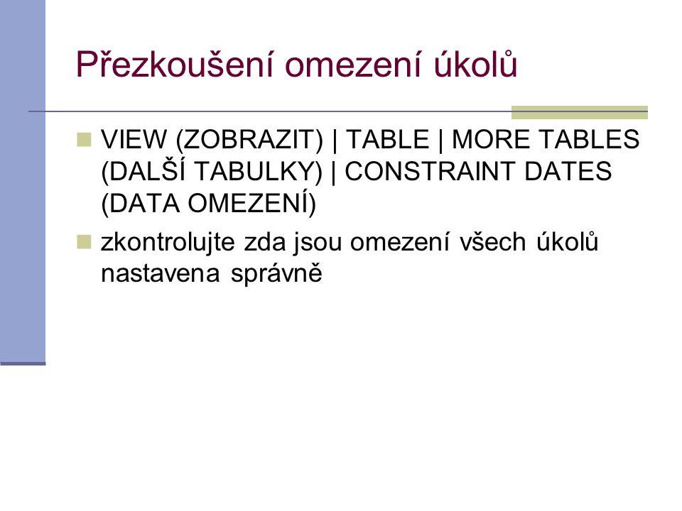 Přezkoušení omezení úkolů  VIEW (ZOBRAZIT) | TABLE | MORE TABLES (DALŠÍ TABULKY) | CONSTRAINT DATES (DATA OMEZENÍ)  zkontrolujte zda jsou omezení vš