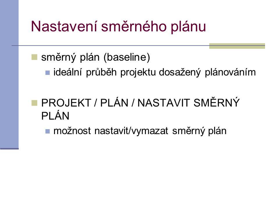 Nastavení směrného plánu  směrný plán (baseline)  ideální průběh projektu dosažený plánováním  PROJEKT / PLÁN / NASTAVIT SMĚRNÝ PLÁN  možnost nast