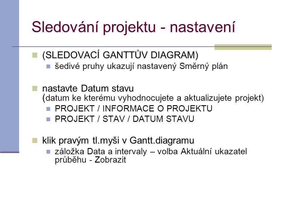 Sledování projektu - nastavení  (SLEDOVACÍ GANTTŮV DIAGRAM)  šedivé pruhy ukazují nastavený Směrný plán  nastavte Datum stavu ( datum ke kterému vy