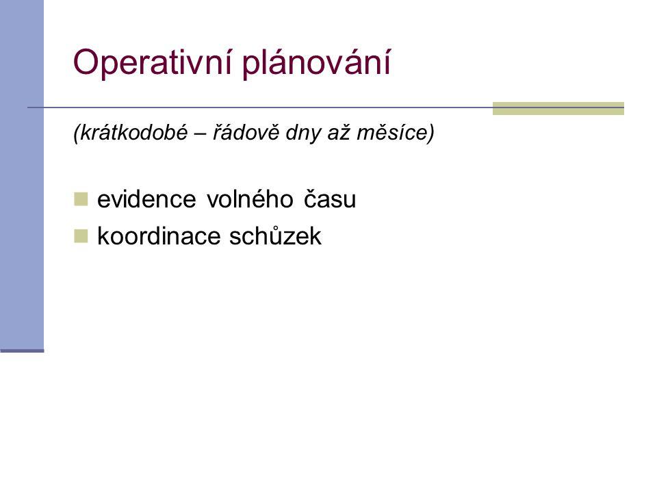 Operativní plánování (krátkodobé – řádově dny až měsíce)  evidence volného času  koordinace schůzek