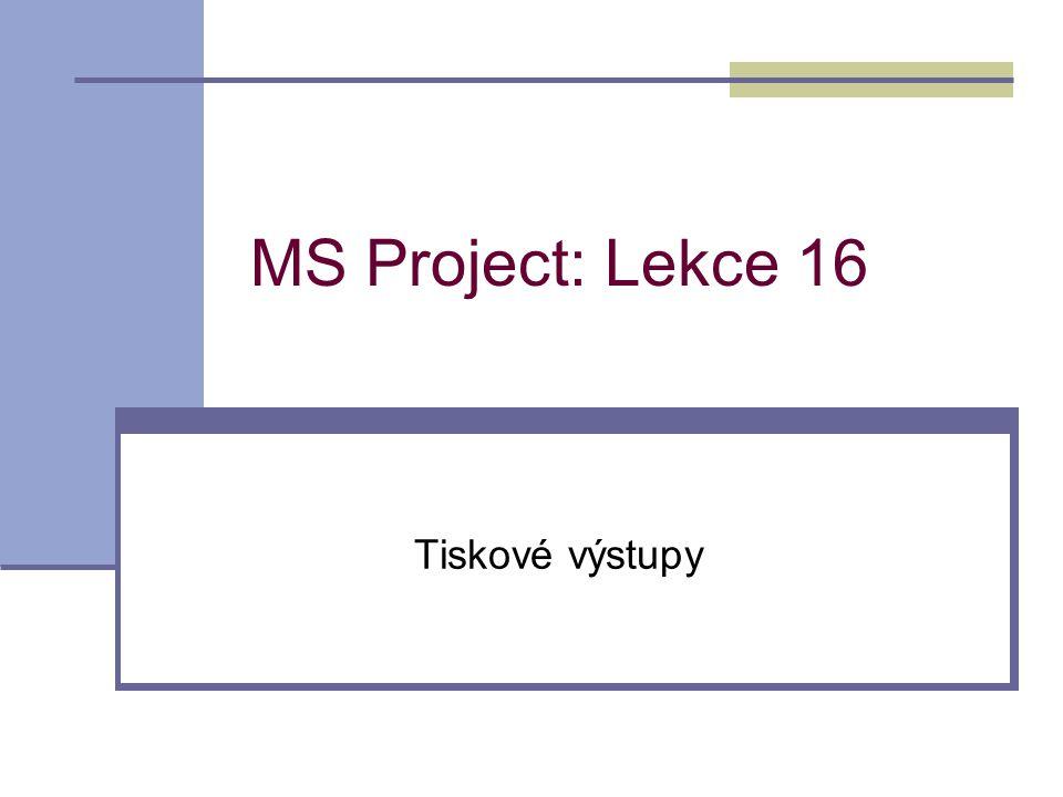 MS Project: Lekce 16 Tiskové výstupy