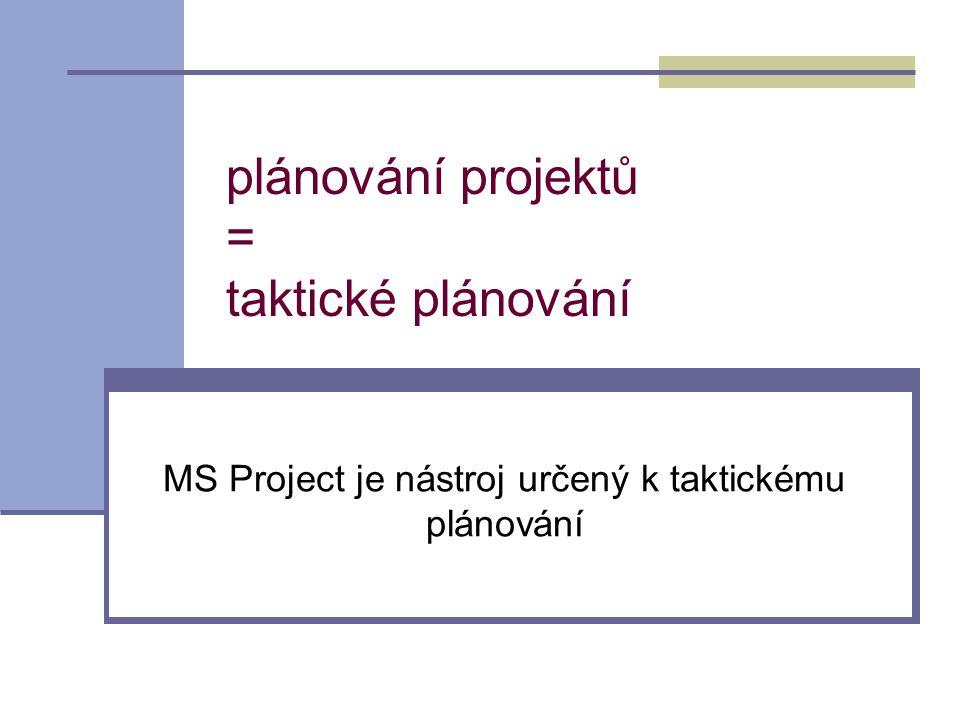 plánování projektů = taktické plánování MS Project je nástroj určený k taktickému plánování