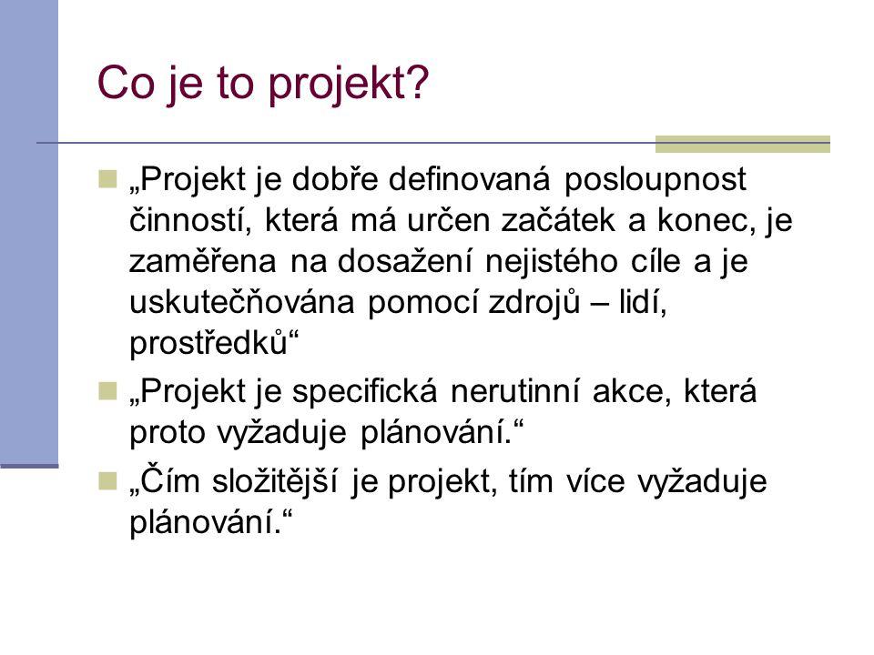 """Co je to projekt?  """"Projekt je dobře definovaná posloupnost činností, která má určen začátek a konec, je zaměřena na dosažení nejistého cíle a je usk"""