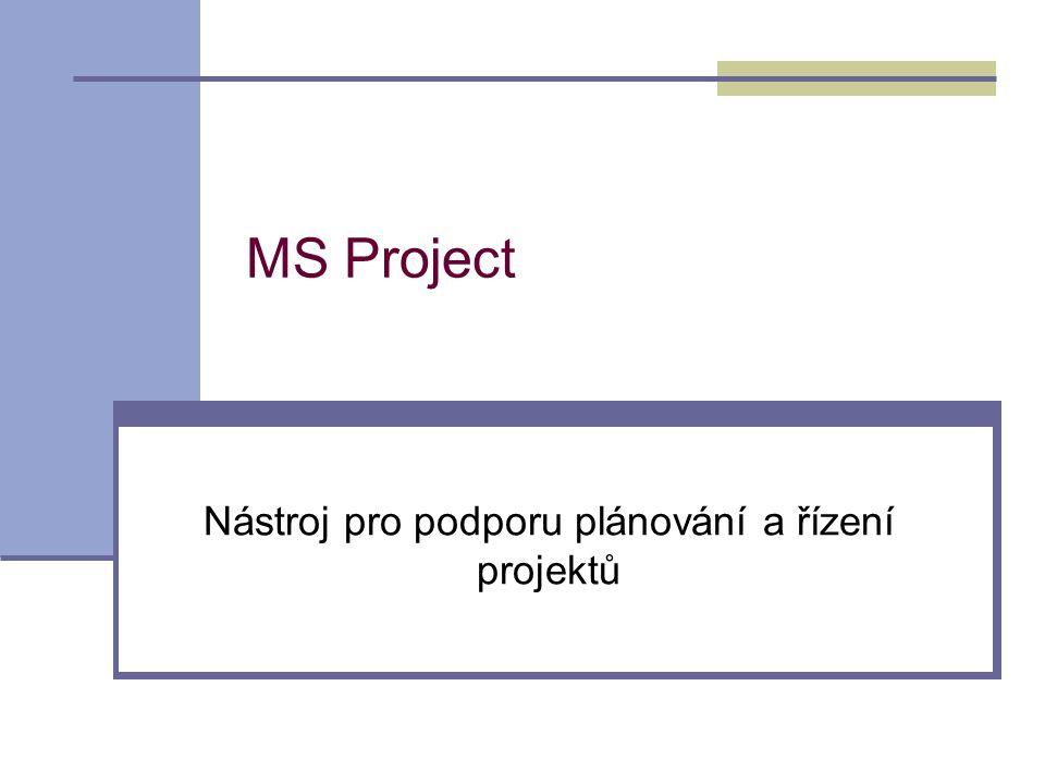 MS Project Nástroj pro podporu plánování a řízení projektů