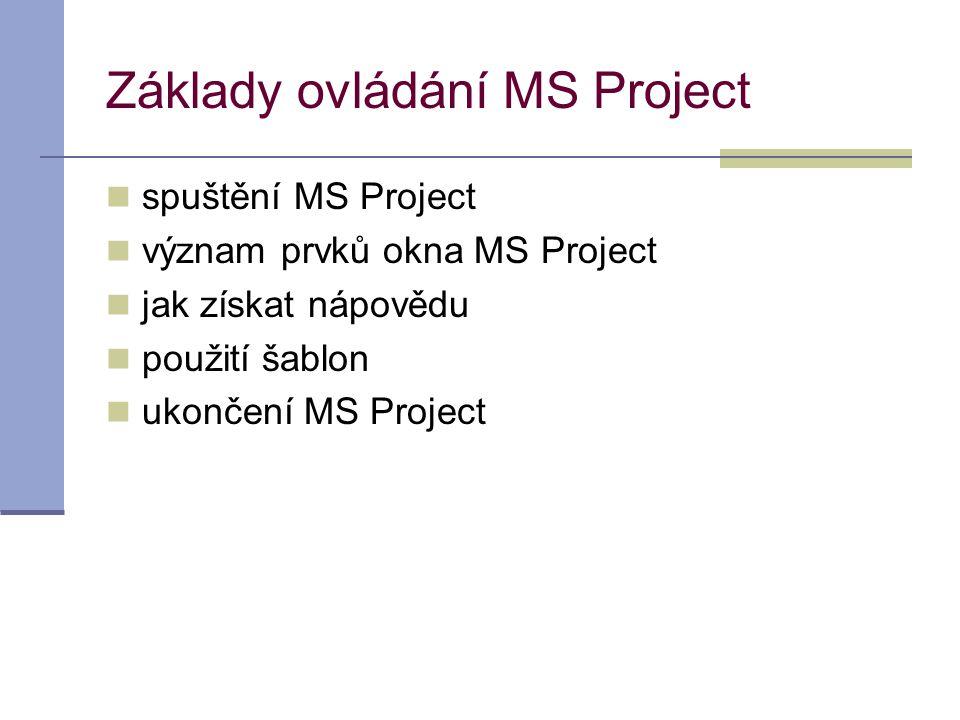 Základy ovládání MS Project  spuštění MS Project  význam prvků okna MS Project  jak získat nápovědu  použití šablon  ukončení MS Project