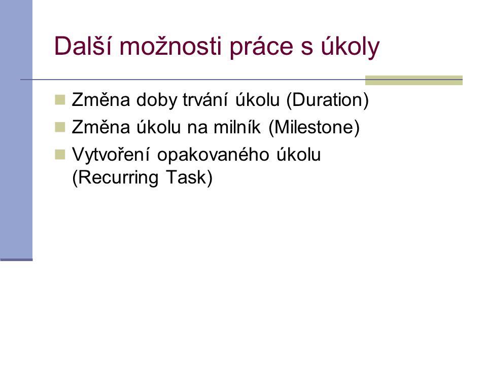 Další možnosti práce s úkoly  Změna doby trvání úkolu (Duration)  Změna úkolu na milník (Milestone)  Vytvoření opakovaného úkolu (Recurring Task)