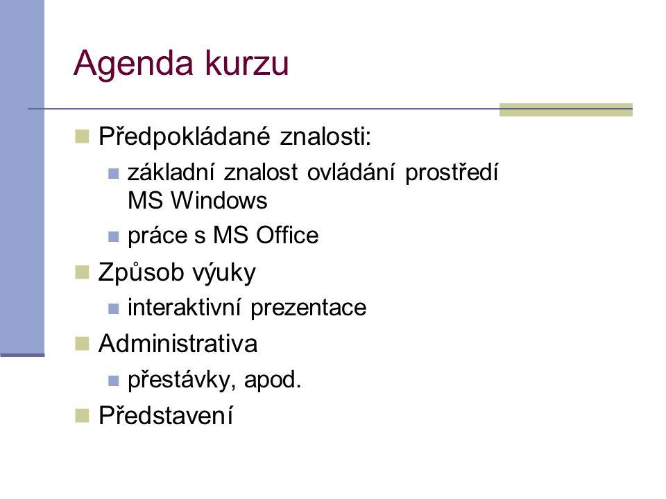 Agenda kurzu  Předpokládané znalosti:  základní znalost ovládání prostředí MS Windows  práce s MS Office  Způsob výuky  interaktivní prezentace 