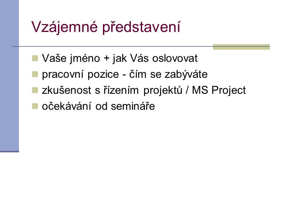 Vzájemné představení  Vaše jméno + jak Vás oslovovat  pracovní pozice - čím se zabýváte  zkušenost s řízením projektů / MS Project  očekávání od s